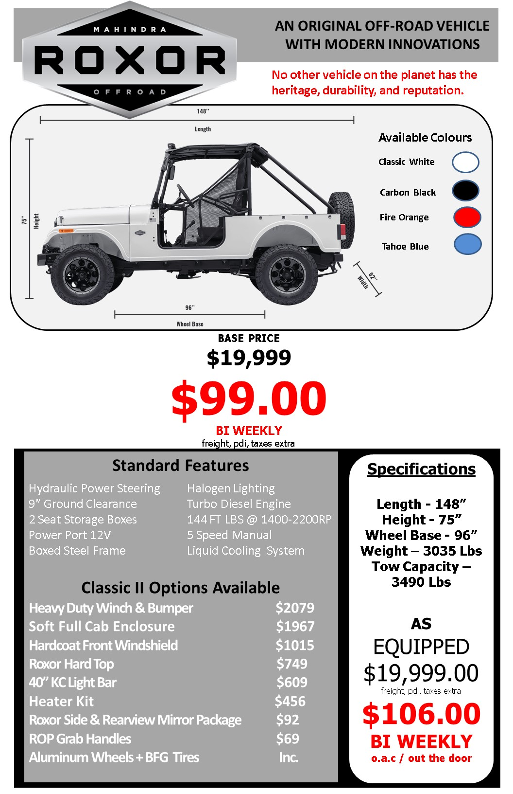 Roxor Off-Road Vehicle Specs and Pricing